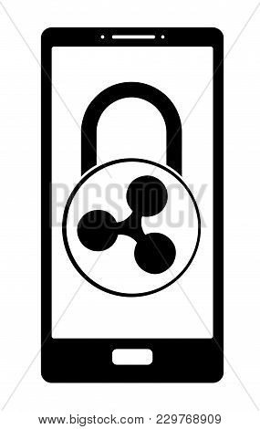 Electronic Security Lock Of Ripple In A Phone ,vector Icon, Black And White Concept , Vector Disign.