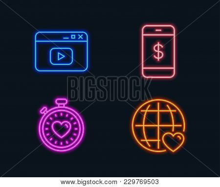 Neon Lights. Set Of Smartphone Payment, Video Content And Heartbeat Timer Icons. International Love