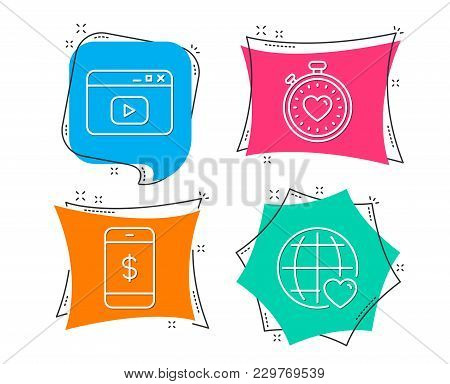 Set Of Smartphone Payment, Video Content And Heartbeat Timer Icons. International Love Sign. Mobile