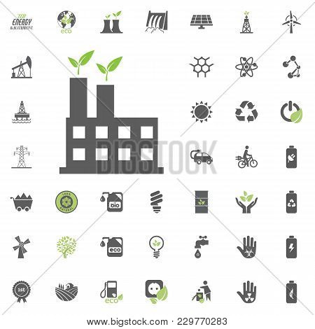 Power Station Icon. Eco And Alternative Energy Vector Icon Set. Energy Source Electricity Power Reso