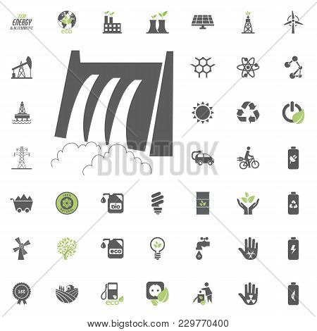 Hydro Power Station Icon. Eco And Alternative Energy Vector Icon Set. Energy Source Electricity Powe