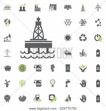 Oil Platform Icon. Eco And Alternative Energy Vector Icon Set. Energy Source Electricity Power Resou