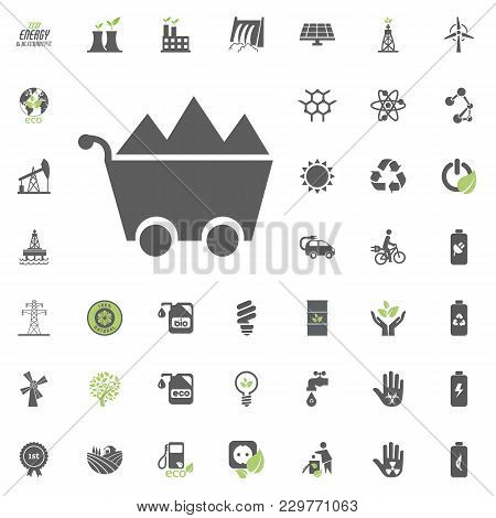 Coal Icon. Eco And Alternative Energy Vector Icon Set. Energy Source Electricity Power Resource Set