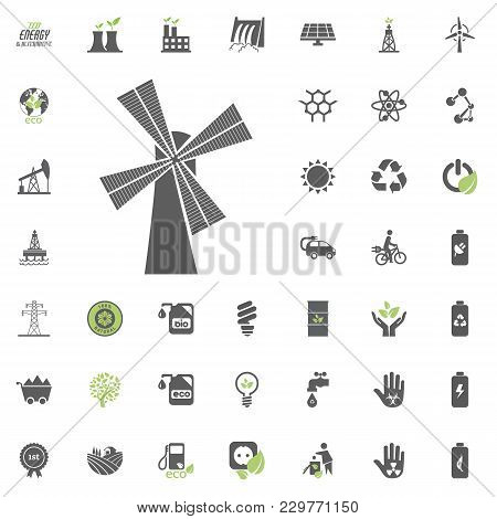 Mill Icon. Eco And Alternative Energy Vector Icon Set. Energy Source Electricity Power Resource Set