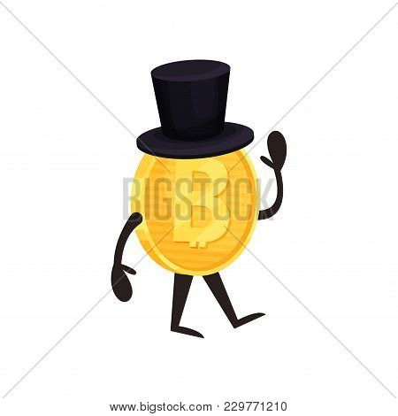 Cartoon Humanized Bitcoin Character With Black Cylinder Hat Walking And Waving Hand. Shiny Golden Co
