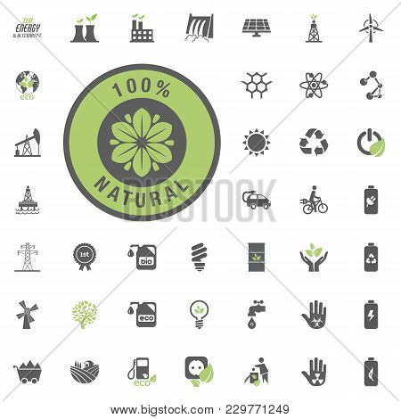 Natural Icon. Eco And Alternative Energy Vector Icon Set. Energy Source Electricity Power Resource S