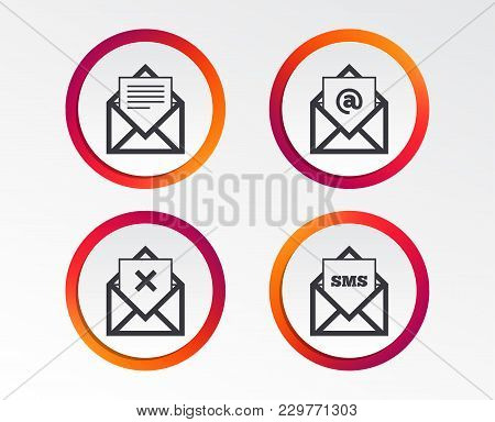 Mail Envelope Icons. Message Document Symbols. Post Office Letter Signs. Delete Mail And Sms Message