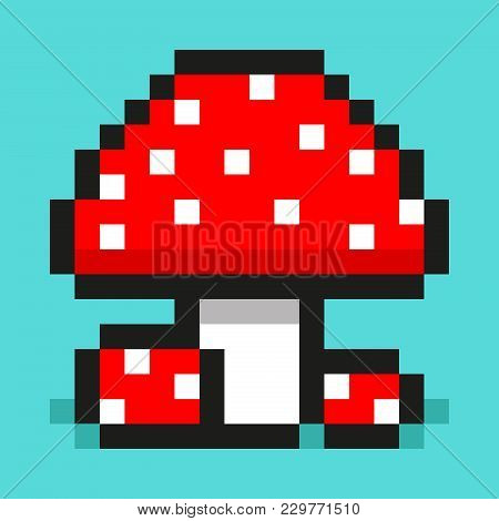 Pixel Art, Digital Mushroom, Big And Small Red Amanita, Flat Web Icon, Vector Design Retro Object