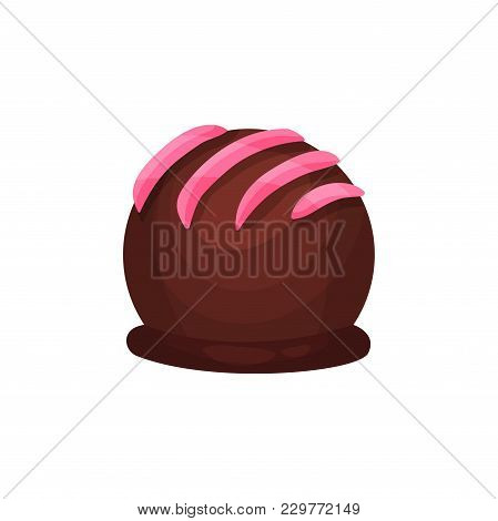Chocolate Candy In Form Of Ball With Pink Icing. Delicious Truffle. Sweet Dessert For Tea Or Coffee