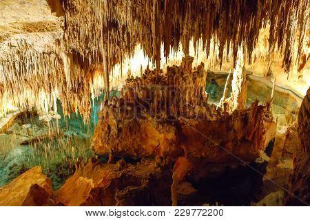 Dragon Caves On Majorca, Spain. Beautiful Nature Caves On Mallorca, Balearic Island. Popular Tourist
