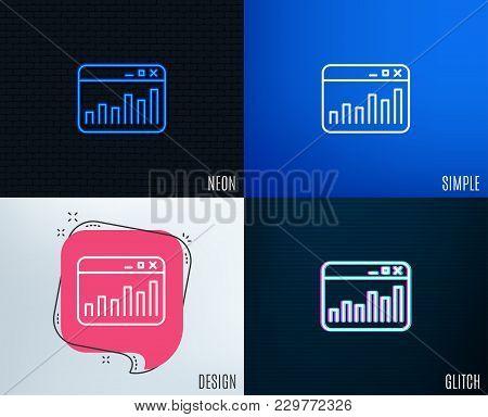 Glitch, Neon Effect. Marketing Statistics Line Icon. Web Analytics Symbol. Browser Window Sign. Tren