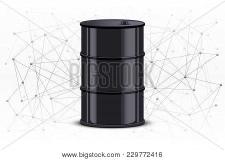 Vector Illustration Of Blockchain In Oil Industry. Background Of Blocks Are Connected In Space With