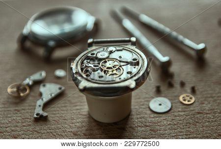 Watchmaker Is Repairing The Mechanical Watches In His Workshop, Mechanical Watch Repair