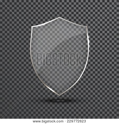 Transparent Shield. Safety Glass Badge Icon. Privacy Guard Banner. Protection Shield Concept. Decora