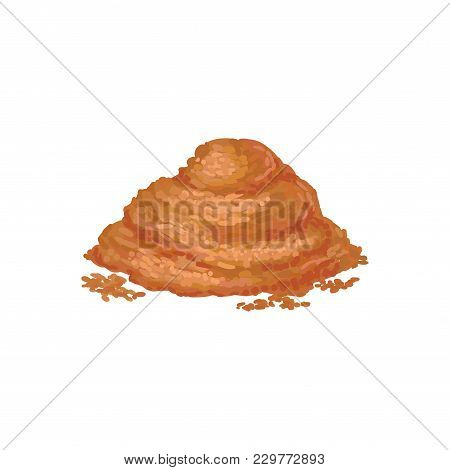 Heap Of Ground Cinnamon Isolated On White Background. Seasoning For Culinary Dishes. Brown Powder Sp