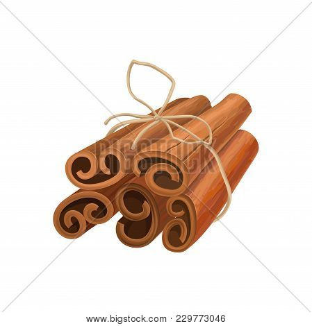 Bunch Of Cinnamon Sticks Tied With Rope. Oriental Spice. Aromatic Seasoning For Dishes And Drinks. D