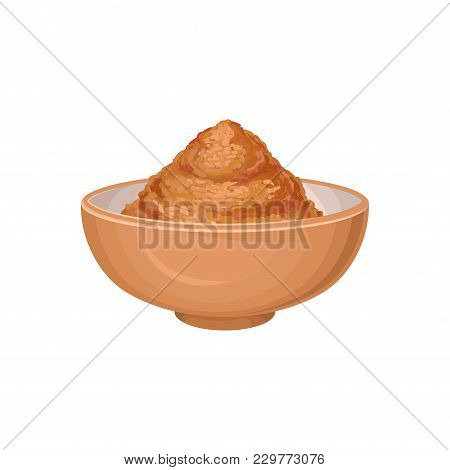 Ground Cinnamon In Brown Ceramic Bowl. Aromatic Seasoning. Spicy Condiment Used In Sweet And Savory