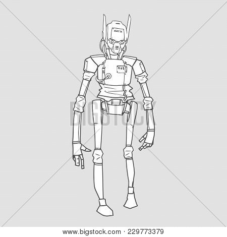 Humanoid robot, android with artificial intelligence. Contour vector illustration for coloring book, isolated. poster