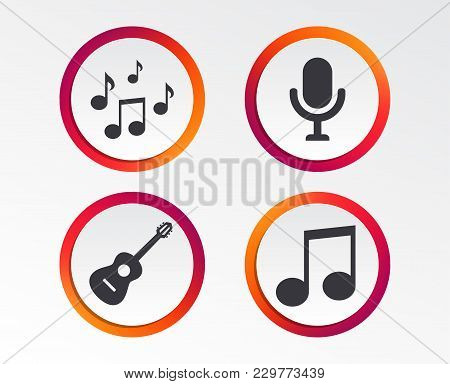 Music Icons. Microphone Karaoke Symbol. Music Notes And Acoustic Guitar Signs. Infographic Design Bu
