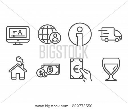 Set Of Online Video, Finance And Truck Delivery Icons. International Recruitment, Dollar Money And W