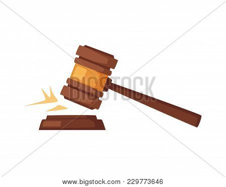 Wooden Judge Gavel. Soundboard Isolated On White Background. Cartoon Vector Illustration. Sound Of K