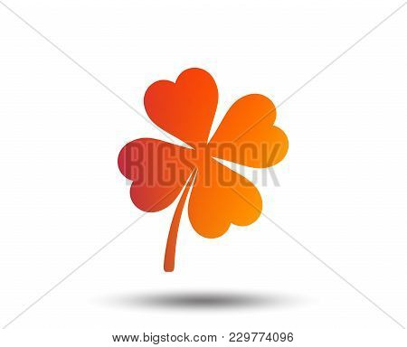 Clover With Four Leaves Sign Icon. Saint Patrick Symbol. Blurred Gradient Design Element. Vivid Grap