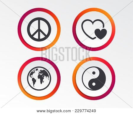 World Globe Icon. Ying Yang Sign. Hearts Love Sign. Peace Hope. Harmony And Balance Symbol. Infograp