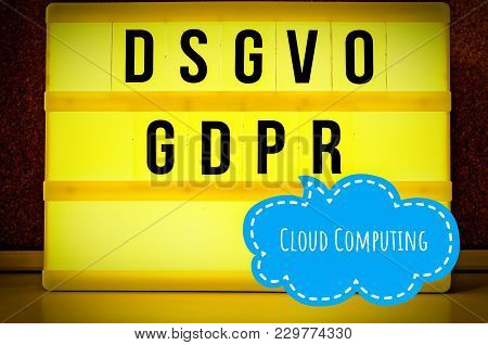 Illuminated Board With The Inscription Dsgvo And Gdpr (general Data Protection Regulation) Purple In
