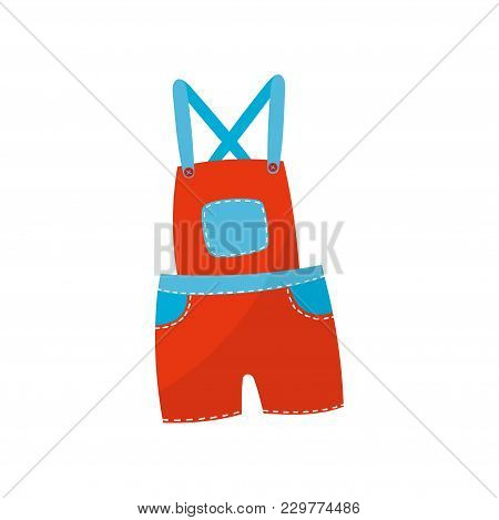 Bright Red Shorts Overall With Blue Pockets. Stylish Clothing For Toddler Boy Or Girl. Children S Ap