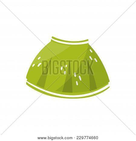 Little Green Skirt For Toddler Girl. Children S Clothing. Stylish Kids Garment. Element For Infograp