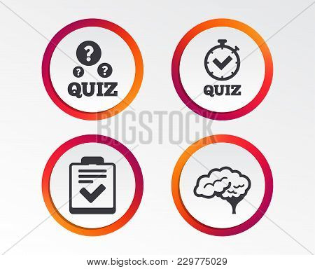 Quiz Icons. Human Brain Think. Checklist And Stopwatch Timer Symbol. Survey Poll Or Questionnaire Fe