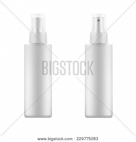 Set Of White Blank Spray Bottles. Mock Up, Cosmetic Package. Vector Template Template For Advertisin