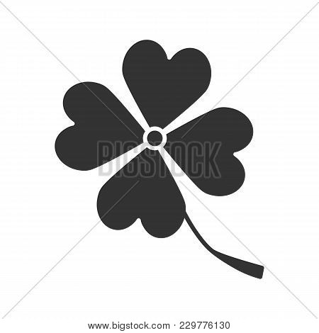 Four Leaf Clover Glyph Icon. Symbol Of Success And Good Luck. Silhouette Symbol. Negative Space. Vec
