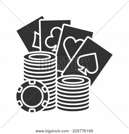 Casino Chips Stack With Playing Cards Glyph Icon. Silhouette Symbol. Casino. Poker. Negative Space.