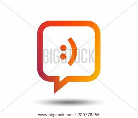 Chat Sign Icon. Speech Bubble With Smile Symbol. Communication Chat Bubbles. Blurred Gradient Design