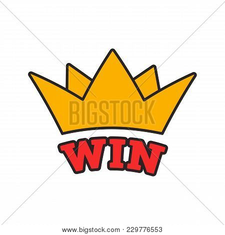 Win Color Icon. Crown. Jackpot. Isolated Vector Illustration