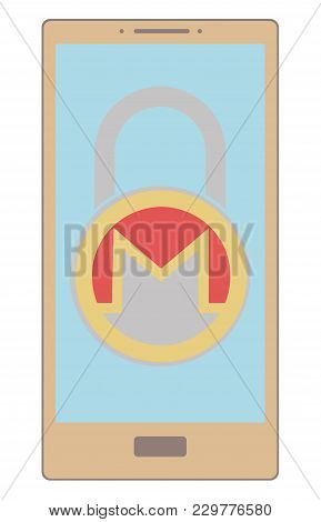 Electronic Security Lock Of Monero In A Phone ,vector Icon,color Concept , Vector Disign.