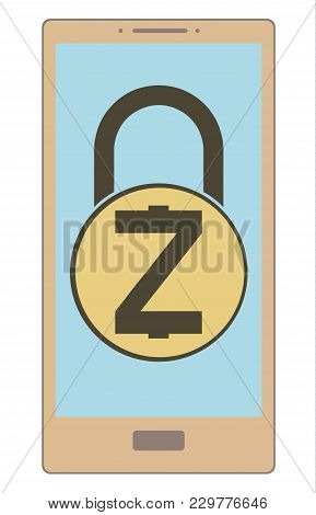 Electronic Security Lock Of Zcash In A Phone ,vector Icon,color Concept , Vector Disign.