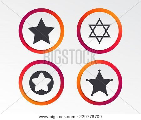 Star Of David Icons. Sheriff Police Sign. Symbol Of Israel. Infographic Design Buttons. Circle Templ