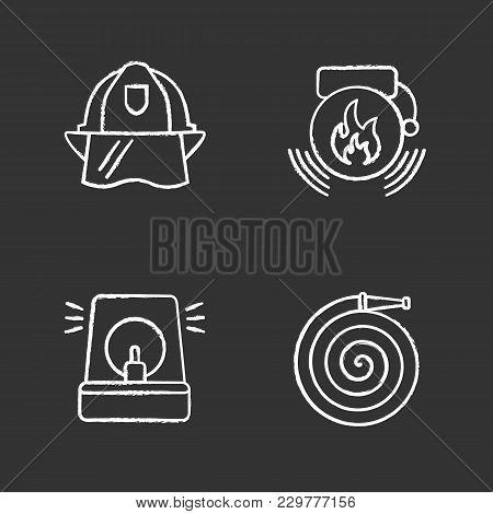 Firefighting Chalk Icons Set. Fire Hose, Hard Hat, Alarm Bell, Fireman Siren. Isolated Vector Chalkb