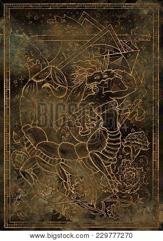 Zodiac Sign Scorpion On Grunge Texture Background. Hand Drawn Fantasy Graphic Illustration In Frame