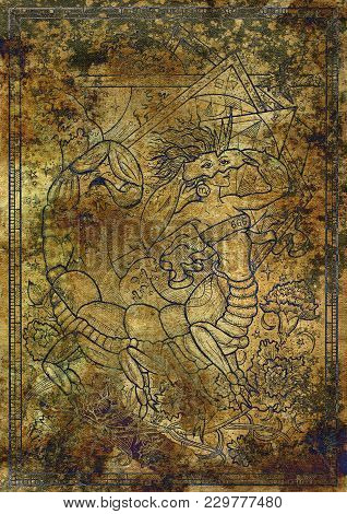 Zodiac Sign Scorpion On Old Fabric Texture Background. Hand Drawn Fantasy Graphic Illustration In Fr