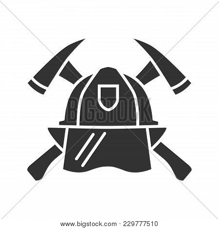 Firefighters Maltese Cross Glyph Icon. Protection Helmet And Crossed Axes. Fire Department Emblem. S