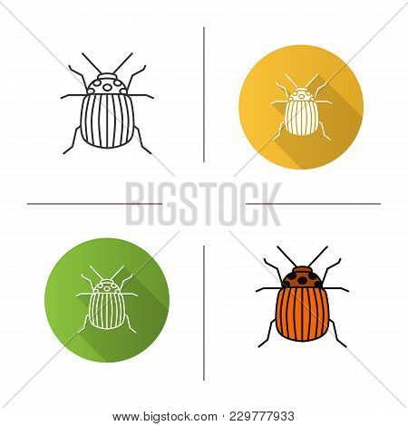Colorado Beetle Icon. Flat Design, Linear And Color Styles. Insect Pest. Potato Bug. Isolated Vector