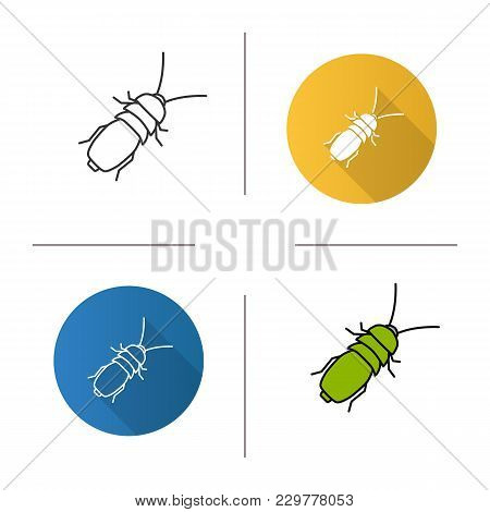 Stink Beetle Icon. Flat Design, Linear And Color Styles. Isolated Vector Illustrations