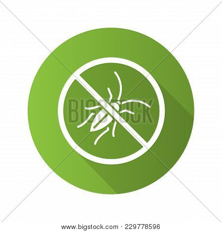 Stop Cockroaches Sign Flat Design Long Shadow Glyph Icon. Roach Repellent. Pest Control. Vector Silh
