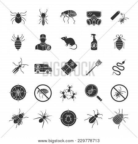 Pest Control Glyph Icons Set. Extermination. Harmful Animals And Insects. Silhouette Symbols. Vector