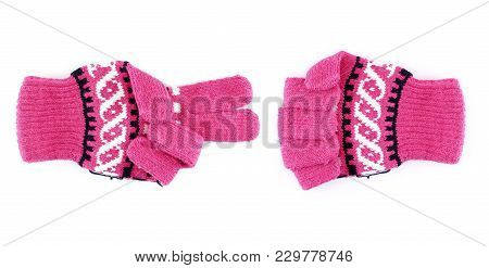 Close-up Pink Winter Glove With Black Striped Making Sign As Rock Paper Scissors (stone, Paper, Scis