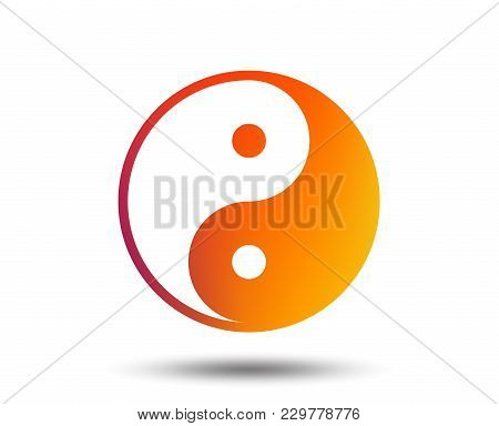 Ying Yang Sign Icon. Harmony And Balance Symbol. Blurred Gradient Design Element. Vivid Graphic Flat