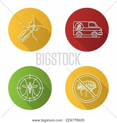 Pest Control Flat Linear Long Shadow Icons Set. Grasshopper, Exterminator Car, Mosquito Target, Stop